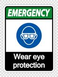 symbol Emergency Wear eye protection on transparent background royalty free illustration