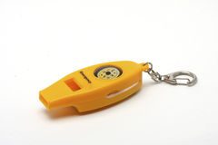 Emergency whistle with compass and chain Stock Photo