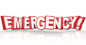 Emergency word in red 3d letters Stock Photos