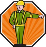 Emergency Worker Pointing Side Cartoon Stock Photos