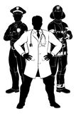Emergency Workers Team Silhouettes. Silhouette police man, fireman and doctor emergency rescue services worker team silhouettes Stock Photography