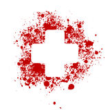Emergengy medicine. Hospital symbol wih splatter of blood stock illustration