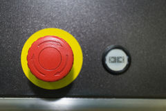Emergeny Button for industrial machine.  Royalty Free Stock Photo