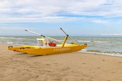 Emergenza boat at the beach, Italy, Riccione. Emergenza boat at the beach Royalty Free Stock Image