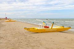Emergenza boat at the beach, Italy, Riccione royalty free stock photography