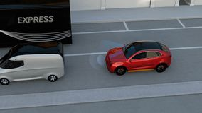 Emergenza rossa di SUV che frena per evitare incidente stradale stock footage