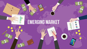 Emerging market concept illustration with team working together on top of world map Stock Image