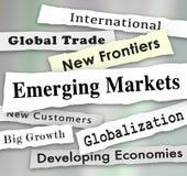Emerging Markets Newspaper Headlines Global International Growth. Illustration Royalty Free Stock Images