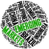 Emerging markets. Word cloud illustration. Stock Images