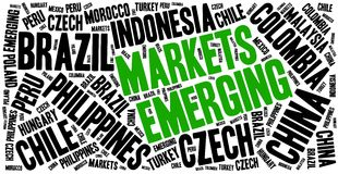 Emerging markets. Word cloud illustration. Royalty Free Stock Images