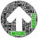 Emerging markets. Word cloud illustration. Stock Image