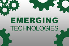 Emerging Technologies concept. EMERGING TECHNOLOGIES sign concept illustration with green gear wheel figures on gray background Royalty Free Stock Images