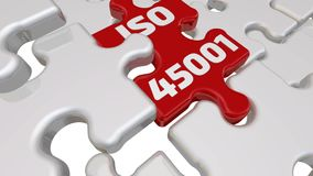 ISO 45001. The inscription on the missing element of the puzzle