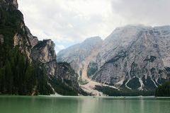 The  lake of Braies Stock Photos