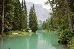 The  lake of Braies Stock Photo
