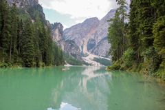 The  lake of Braies Stock Image
