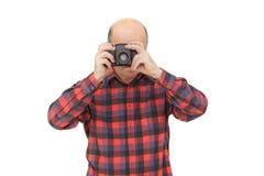 Emeryt z photocamera robi krótkopędu obraz royalty free