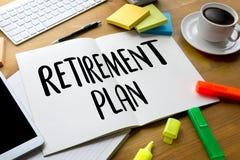 EMERYTURA planu Savings emerytura planu Starszy Inwestorski pióro Zdjęcie Stock