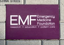 EMF brick, EMF Plaza, National ACEP Headquarters, Dallas, Texas. Pictured is the Emergency Medicine Foundation brick in the EMF Plaza in front of the National Royalty Free Stock Images