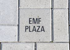 EMF plaza brick, EMF Plaza, National ACEP Headquarters, Dallas, Texas. Pictured is the EMF Plaza brick in the EMF Plaza in front of the National ACEP Stock Images