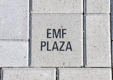 EMF pleinbaksteen, EMF Plein, Nationaal ACEP-Hoofdkwartier, Dallas, Texas stock afbeeldingen
