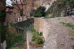 Emialon Lousias klyfta, Peloponnese, Grekland Royaltyfria Foton
