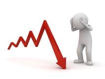 emicrania dell'uomo 3d con il grafico della freccia giù o il problema di business sopra fondo bianco Fotografia Stock