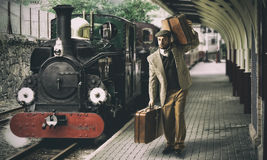 Emigrant to the train station Royalty Free Stock Photography