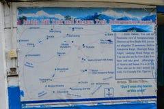 Emigrar el mapa del macizo de Annapurna, Nepal imagen de archivo libre de regalías