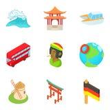Emigre los iconos fijados, estilo de la historieta stock de ilustración