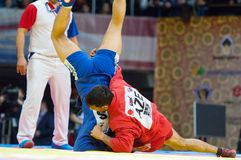 Emil Khasanov (r) contro Evgeniy Sukhomlinov (B) Fotografia Stock Libera da Diritti