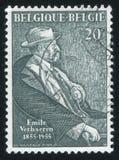 Emile Verhaeren by Montald Constant. RUSSIA KALININGRAD, 20 OCTOBER 2015: stamp printed by Belgium, shows Emile Verhaeren by Montald Constant, circa 1955 Royalty Free Stock Photo