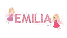 Emilia female name with cute fairy tale Royalty Free Stock Photo