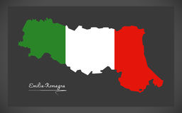 Emilia-Romagna map with Italian national flag illustration. In artwork style Royalty Free Stock Images