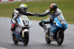 EMILIANO LANCIONI and DANIEL SAEZ (Moto 3) Royalty Free Stock Photo
