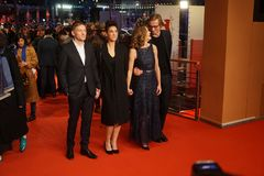 Emily Atef, Marie Baeumer and Karsten Stoeter at 68th Berlinale 2018 royalty free stock photo