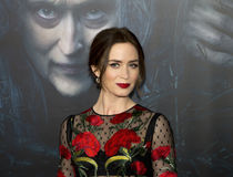 "Emily Blunt. British film actress Emily Blunt arrives on the red carpet for the world premiere of Disney's ""Into the Woods,"" at The Ziegfeld stock images"