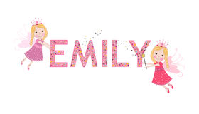 Emily female name with cute fairy Royalty Free Stock Photos