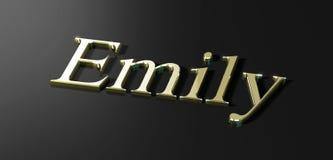 Emily. Name Emily written in gold stock illustration