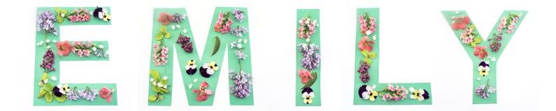 Emily Word Made av pappers- och vårblommor Royaltyfria Foton
