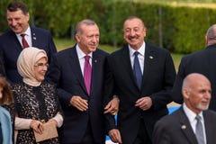 Emine Erdogan, Recep Tayeep Erdogan, Ilham Aliyev fotografia de stock royalty free