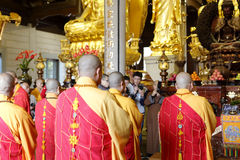 Eminent monks of nanputuo temple hold blessing ceremony royalty free stock images