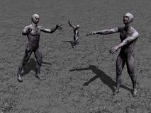 Eminente 3d zombieën - geef terug Royalty-vrije Stock Afbeeldingen