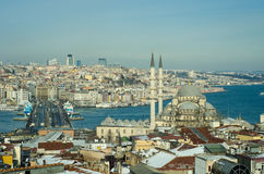 Eminonu district Galata bridge, Levent skyscapers Istanbul Royalty Free Stock Photography