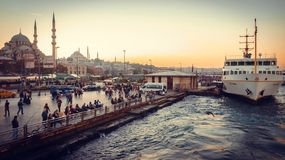 Eminonu pier in sunset Stock Image