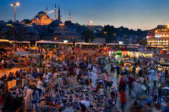 Eminonu square by night, Istanbul, in Turkey. Stock Photo