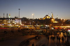 Eminonu Square nightview with Aksaray Valide Mosque, Istanbul, Turkey Royalty Free Stock Photos