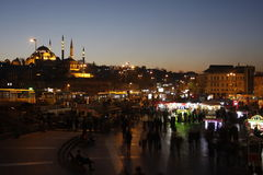 Eminonu Square nightview with Aksaray Valide Mosque, Istanbul, Turkey stock images
