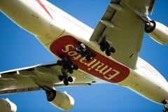 Emiräte A380 auf Anflug Stockbild