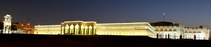 Emir's palace Doha, Qatar. Night time view of emirs palace in Doha Qatar Stock Image